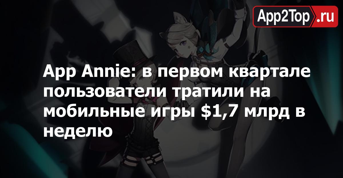 App Annie: в первом квартале пользователи тратили на мобильные игры $1,7 млрд в неделю