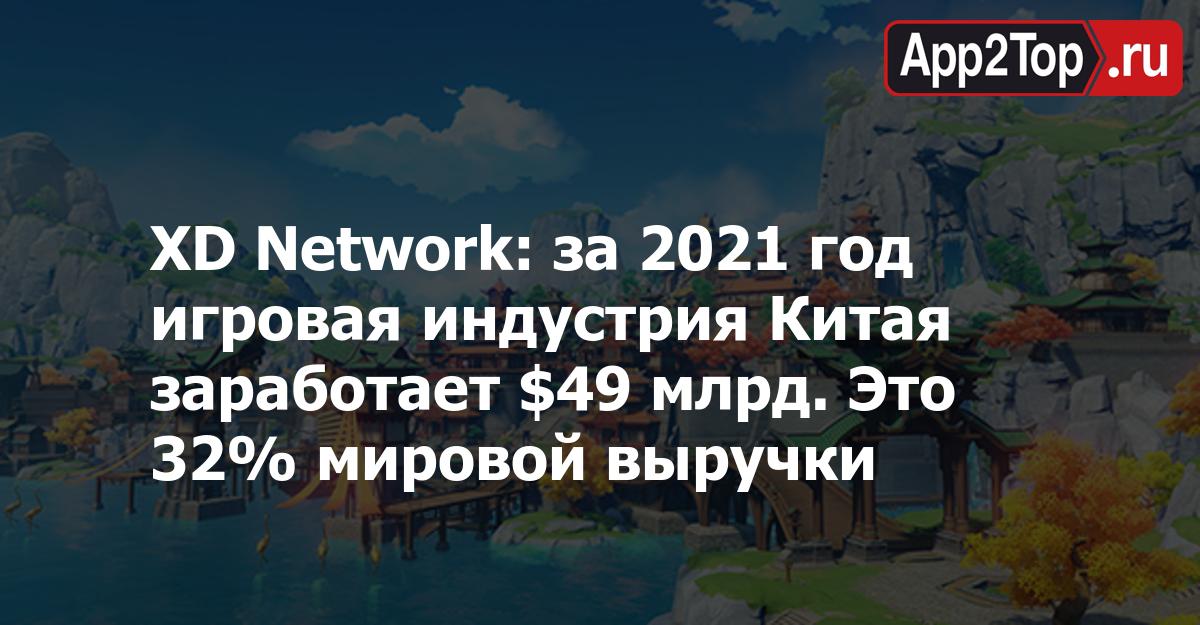 XD Network: за 2021 год игровая индустрия Китая заработает $49 млрд. Это 32% мировой выручки